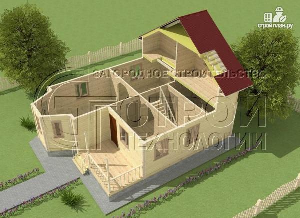 Фото 4: проект загородный дом 8х9 м с эркером, террасой, лоджией и мансардным этажом