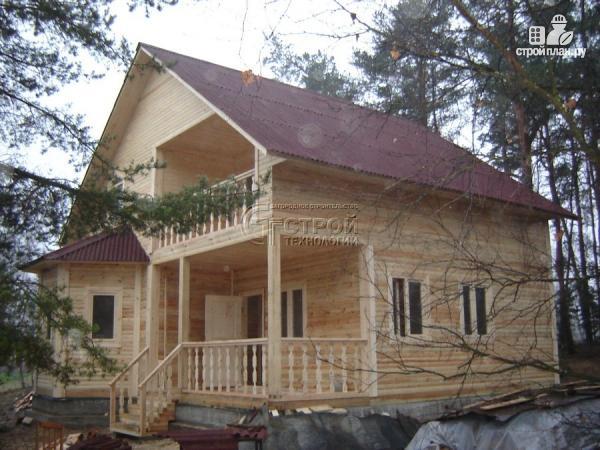 Фото 12: проект загородный дом 8х9 м с эркером, террасой, лоджией и мансардным этажом