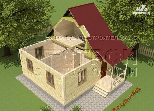 Фото 4: проект загородный дом 6х6 мс мансардой