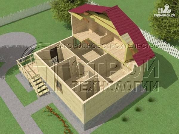 Фото 4: проект загородный дом 7х7,5 с террасой и мансардой