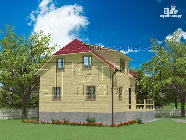 Фото 2: проект загородный дом 7х7,5 с террасой и мансардой