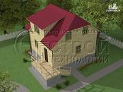 Фото: загородный дом 7х7,5 с террасой и мансардой