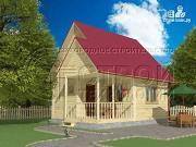 Фото: загородный дом 6х6 мс террасой и мансардой