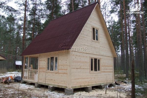 Фото 12: проект загородный дом 6х6 мс террасой и мансардой