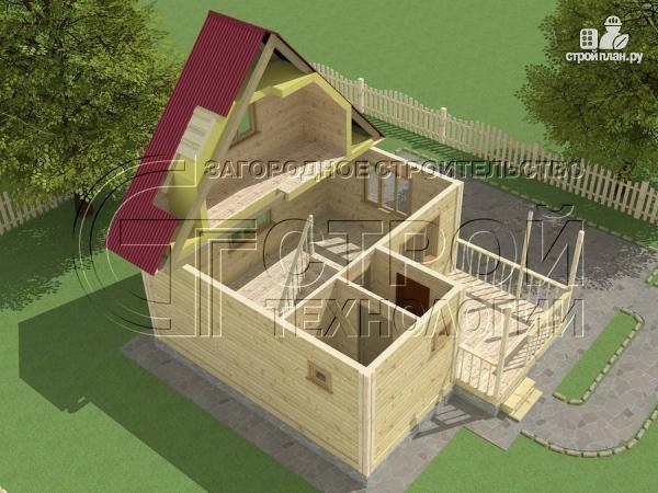 Фото 5: проект загородный дом 6х6 мс террасой и мансардой