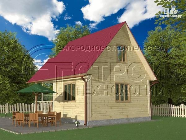 Фото 4: проект загородный дом 6х6 мс террасой и мансардой