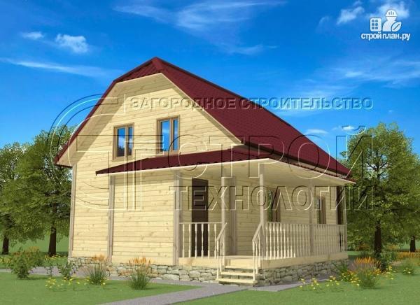 Фото 2: проект загородный дом 7х9 мс террасой и мансардой