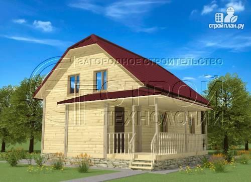 Фото: проект загородный дом 7х9 мс террасой и мансардой