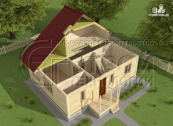 Фото 5: проект загородный дом 6х7 мс верандой 21 м2 и крыльцом