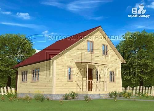 Фото: проект загородный дом 6х7 мс верандой 21 м2 и крыльцом