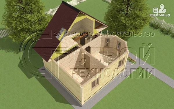 Фото 5: проект загородный дом 6х7 мс эркером, крыльцом и лоджией