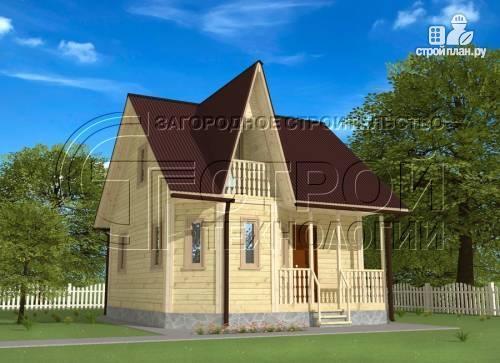 Фото: проект загородный дом 6х7 мс эркером, крыльцом и лоджией