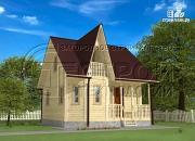 Фото: загородный дом 6х7 мс эркером, крыльцом и лоджией