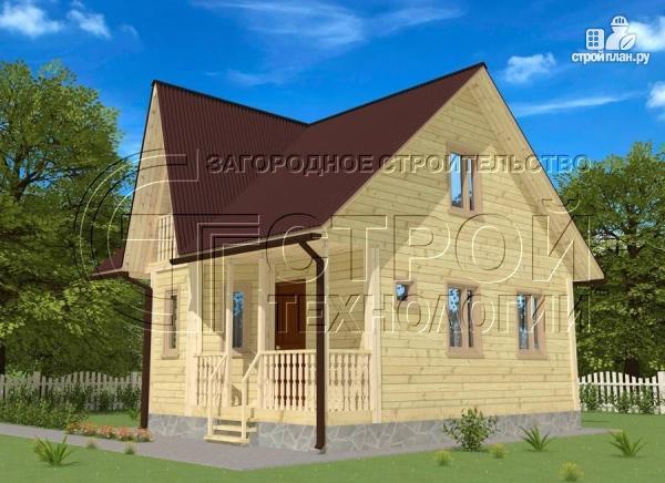 Фото 3: проект загородный дом 6х7 мс эркером, крыльцом и лоджией