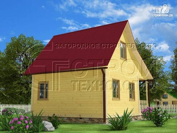 Фото 2: проект дачный дом 6х5 м с террасой и мансардой