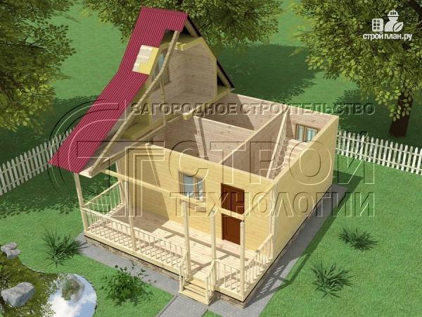 Фото 4: проект дачный дом 6х5 м с террасой и мансардой