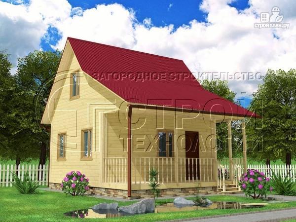 Фото: проект дачный дом 6х5 м с террасой и мансардой