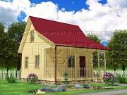 Проект дачный дом 6х5 м с террасой и мансардой