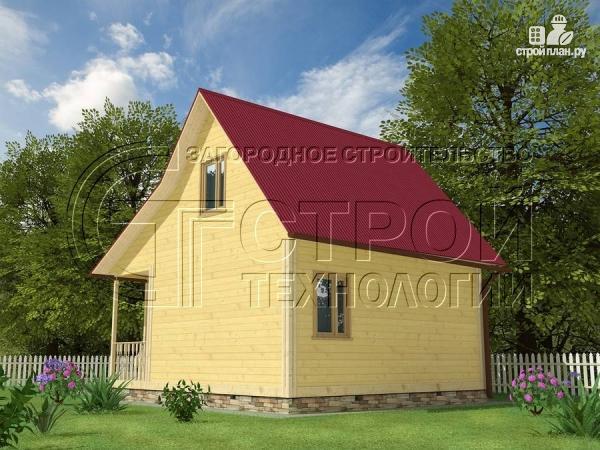 Фото 3: проект дачный дом 6х5 м с террасой и мансардой