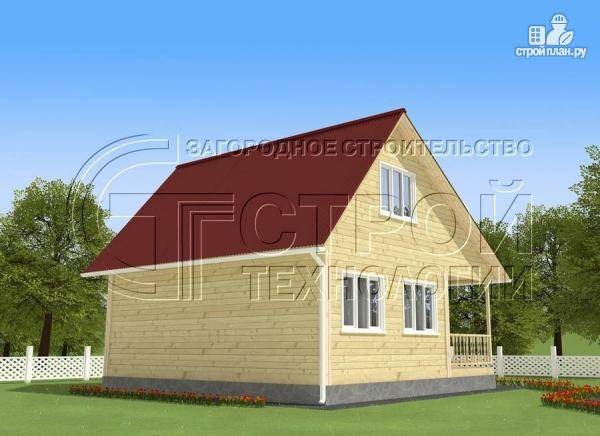 Фото 3: проект загородный дом 5x7,5 мс мансардным этажом, террасой и верандой
