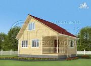 Проект загородный дом 5x7,5 мс мансардным этажом, террасой и верандой