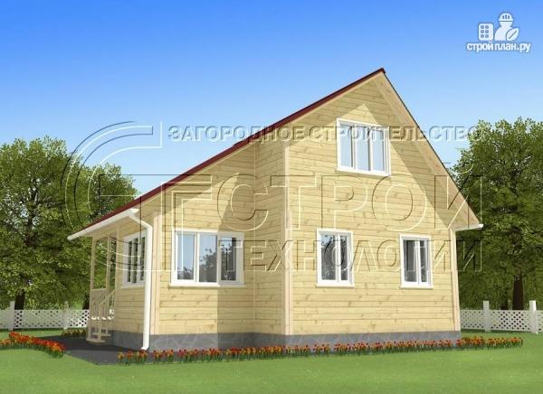 Фото 2: проект загородный дом 5x7,5 мс мансардным этажом, террасой и верандой