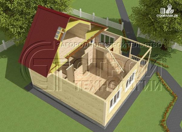Фото 4: проект загородный дом 5x7,5 мс мансардным этажом, террасой и верандой