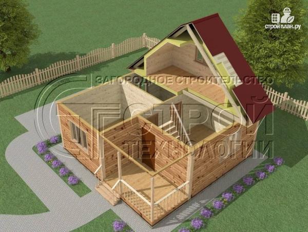 Фото 4: проект загородный дом 7x7 мс мансардой, террасой и лоджией
