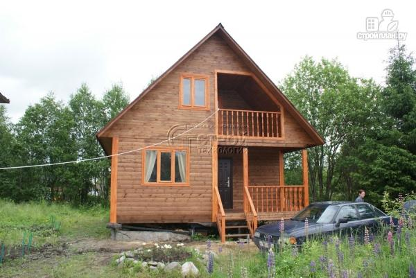 Фото 13: проект загородный дом 7x7 мс мансардой, террасой и лоджией