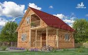 Проект загородный дом 7x7 мс мансардой, террасой и лоджией