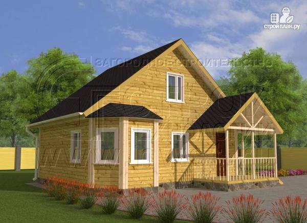 Фото: проект загородный дом 6x8 мсэркером, террасойи мансардой