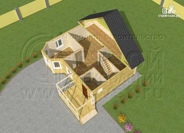 Фото 6: проект загородный дом 6x8 мсэркером, террасойи мансардой