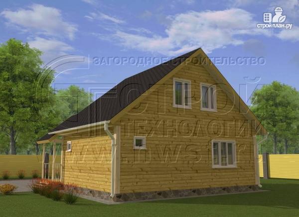 Фото 3: проект загородный дом 6x8 мсэркером, террасойи мансардой