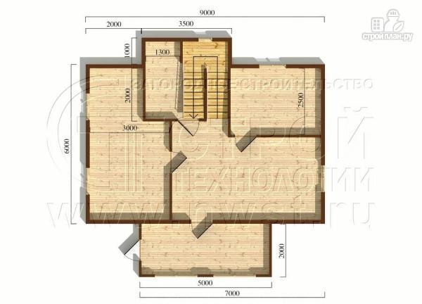 Фото 5: проект коттедж6x9 м полтора этажас верандой 10 м2и мансардным этажом