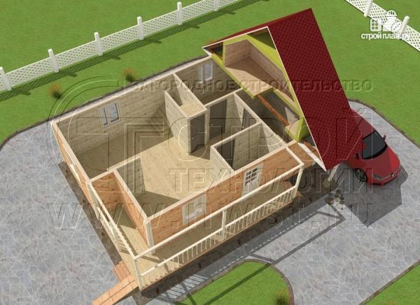 Фото 4: проект загородный дом6x9 мс террасой 9,5 м2и мансардой