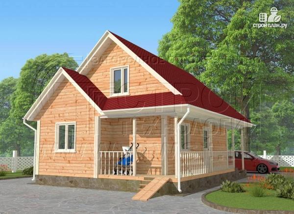 Фото: проект загородный дом6x9 мс террасой 9,5 м2и мансардой