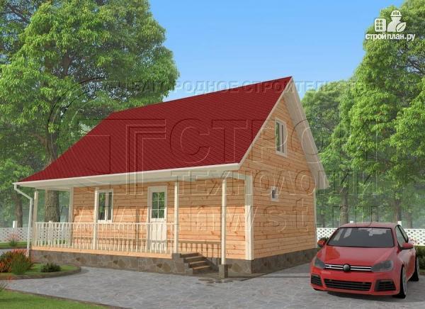 Фото 2: проект загородный дом6x9 мс террасой 9,5 м2и мансардой