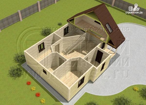 Фото 4: проект коттедж 7,5x10 м с мансардой и верандой