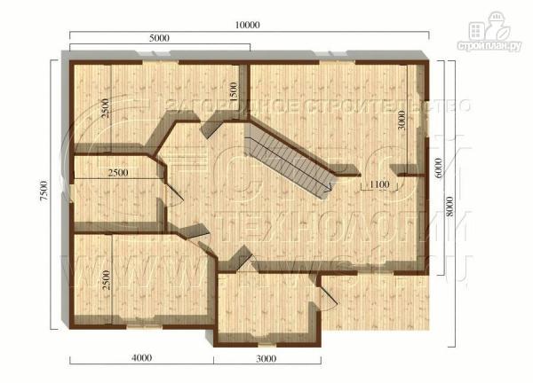 Фото 5: проект коттедж 7,5x10 м с мансардой и верандой