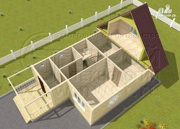 Фото 4: проект дачный дом 6x7 мс террасой