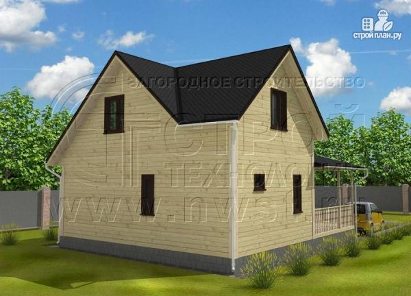Фото 3: проект дачный дом 7x7 мсэркером иугловой террасой