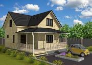Проект дачный дом 7x7 мсэркером иугловой террасой
