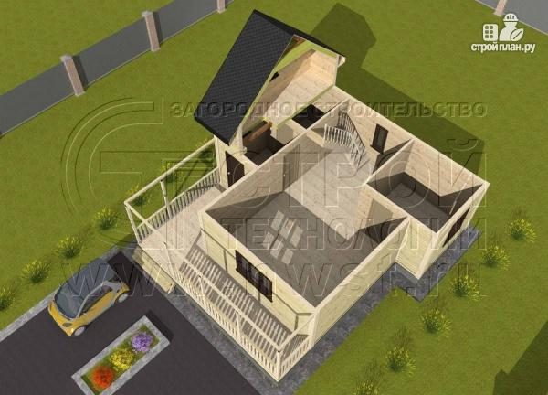 Фото 4: проект дачный дом 7x7 мсэркером иугловой террасой
