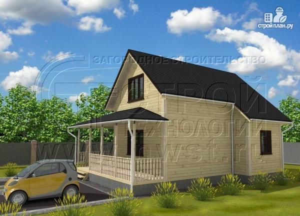 Фото 2: проект дачный дом 7x7 мсэркером иугловой террасой