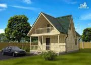 Фото: загородный дом 6x6 мс террасой, лоджией и мансардой