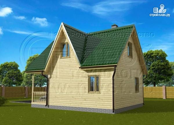 Фото 2: проект загородный дом 6x6 мс террасой, лоджией и мансардой