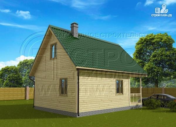 Фото 3: проект загородный дом 6x6 мс террасой, лоджией и мансардой