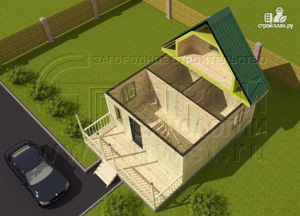 Фото 4: проект загородный дом 6x6 мс террасой, лоджией и мансардой