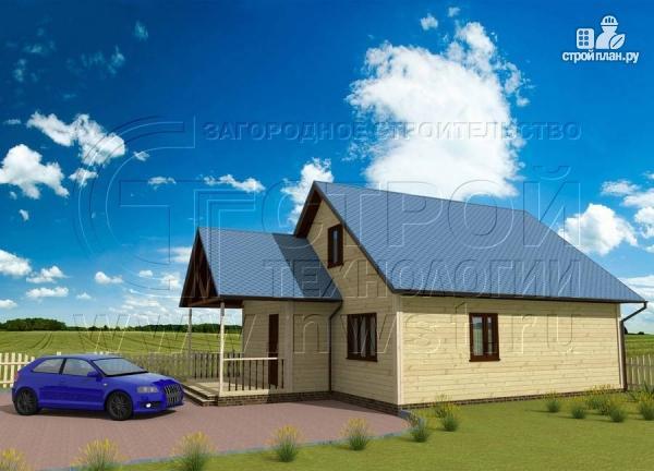 Фото: проект загородный дом 8x10 м с террасой и мансардой