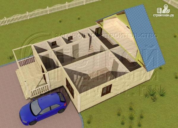 Фото 4: проект загородный дом 8x10 м с террасой и мансардой